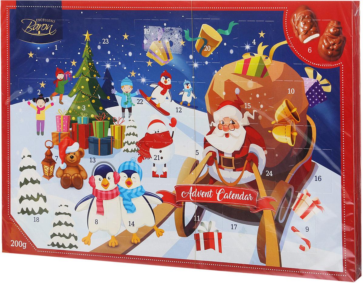 Шоколад молочный Сhoco Toffee Baron Новогодний календарь, 200 г