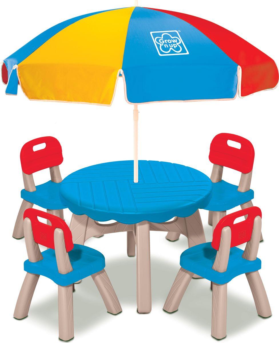 Летний набор Grown Up Столик, 3017-103017-10Летний набор Grown up - незаменимый помощник для любителей подвижных игр и активного отдыха! Набор идеально подходит для творческих занятий, закуски или игры. Этот прочный, легкий стол предназначен для размещения до 4 малышей. В комплект входят 4 стула с высокой спинкой, стол и функциональный зонтик.