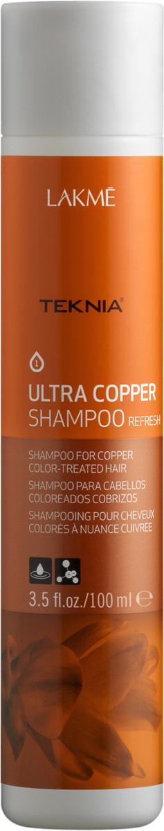 Шампунь Lakme Teknia Ultra Copper Shampoo Медный, для поддержания оттенка окрашенных волос, 100 мл lakme teknia ultra copper shampoo