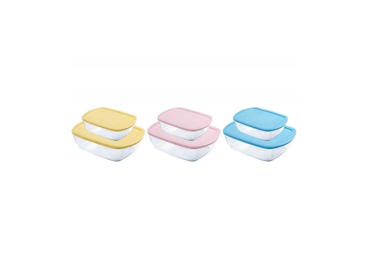 Набор форм для запекания Pyrex Candy прямоугольные с крышками, 912S910