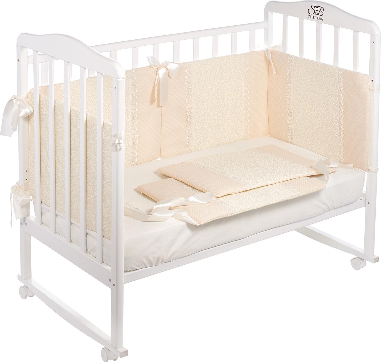 Бортики в кроватку Sweet Baby Fiore, 419051, бежевый, 6 частей комплекты в кроватку makkaroni kids sweet baby 125x65 6 предметов