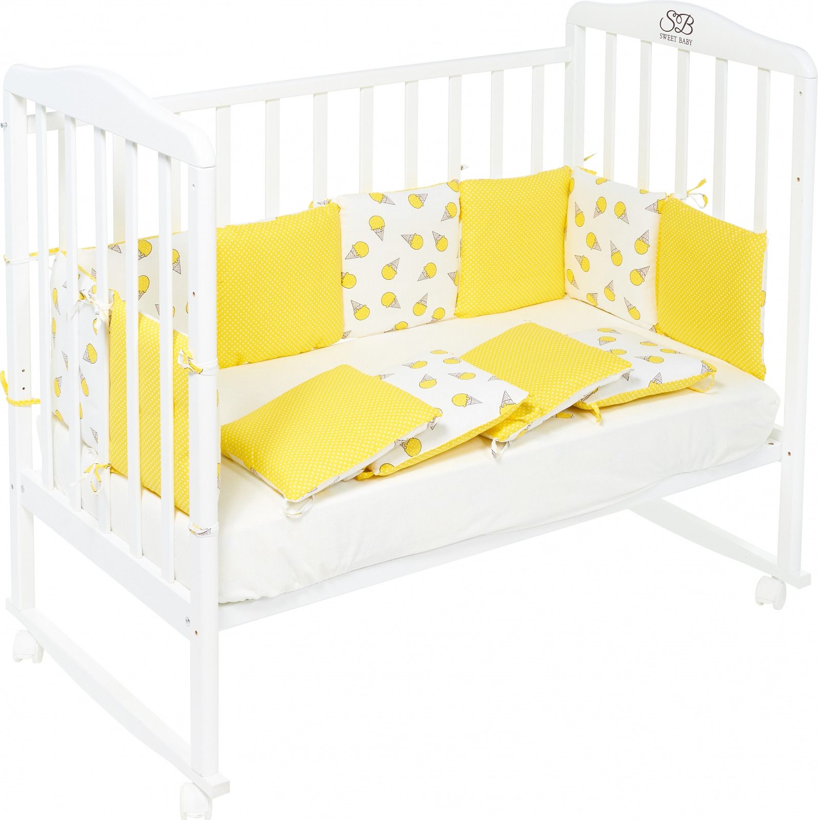 Бортики в кроватку Sweet Baby Gelato,желтый, 12 частей комплекты в кроватку makkaroni kids sweet baby 125x65 6 предметов