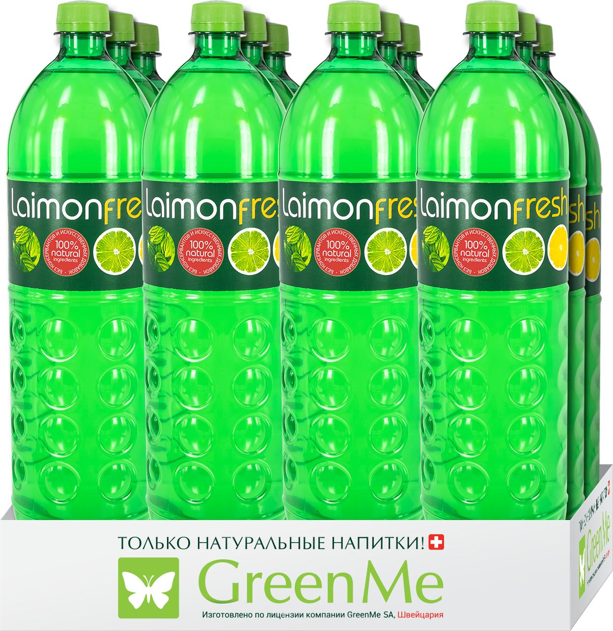 """Газированный напиток Laimon Fresh """"Лайм-Лимон-Мята"""", 12 шт х 1 л"""
