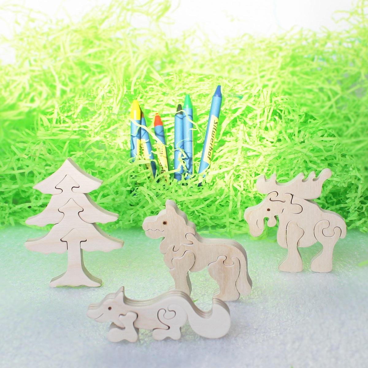 Деревянная модель Стеша Деревянные пазлы и раскраска