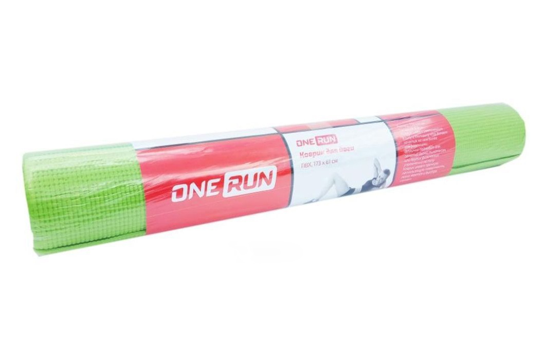 Коврик для йоги OneRun, 495-4807, зеленый, 173 х 61 см коврик для йоги onerun 495 4807 зеленый 173 х 61 см