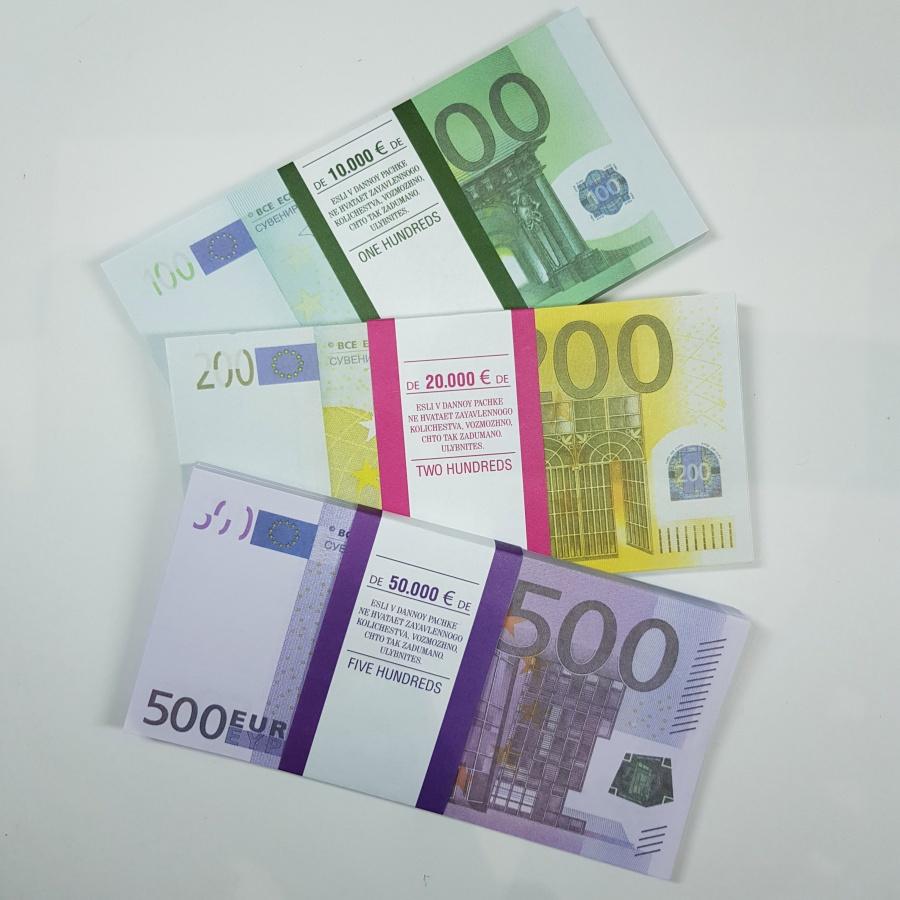 Сувенирные деньги Филькина грамота Евро. Набор №3 500, 200, 100 евро, AD0000151 сувенир филькина грамота блокнот пачка 500 руб nh0000005