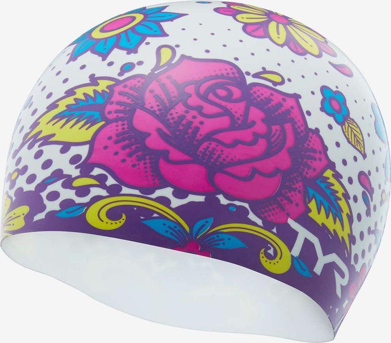 Шапочка для плавания TYR Flower Power Swim Cap, LCSFLPOW, разноцветный недорго, оригинальная цена