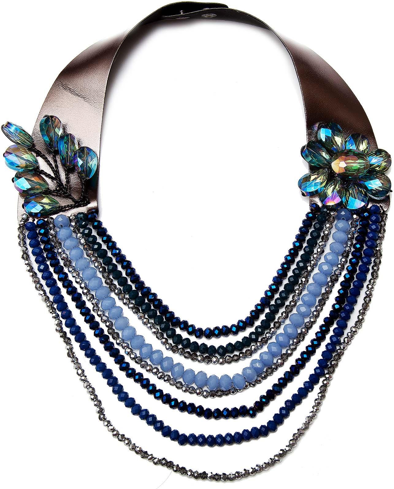 Колье Kameo-bis, цвет: синий. NC710059NC710059Размер 50 х 3,5 см, размер украшения 27 х 16 см. Состав: кристаллы, экокожа