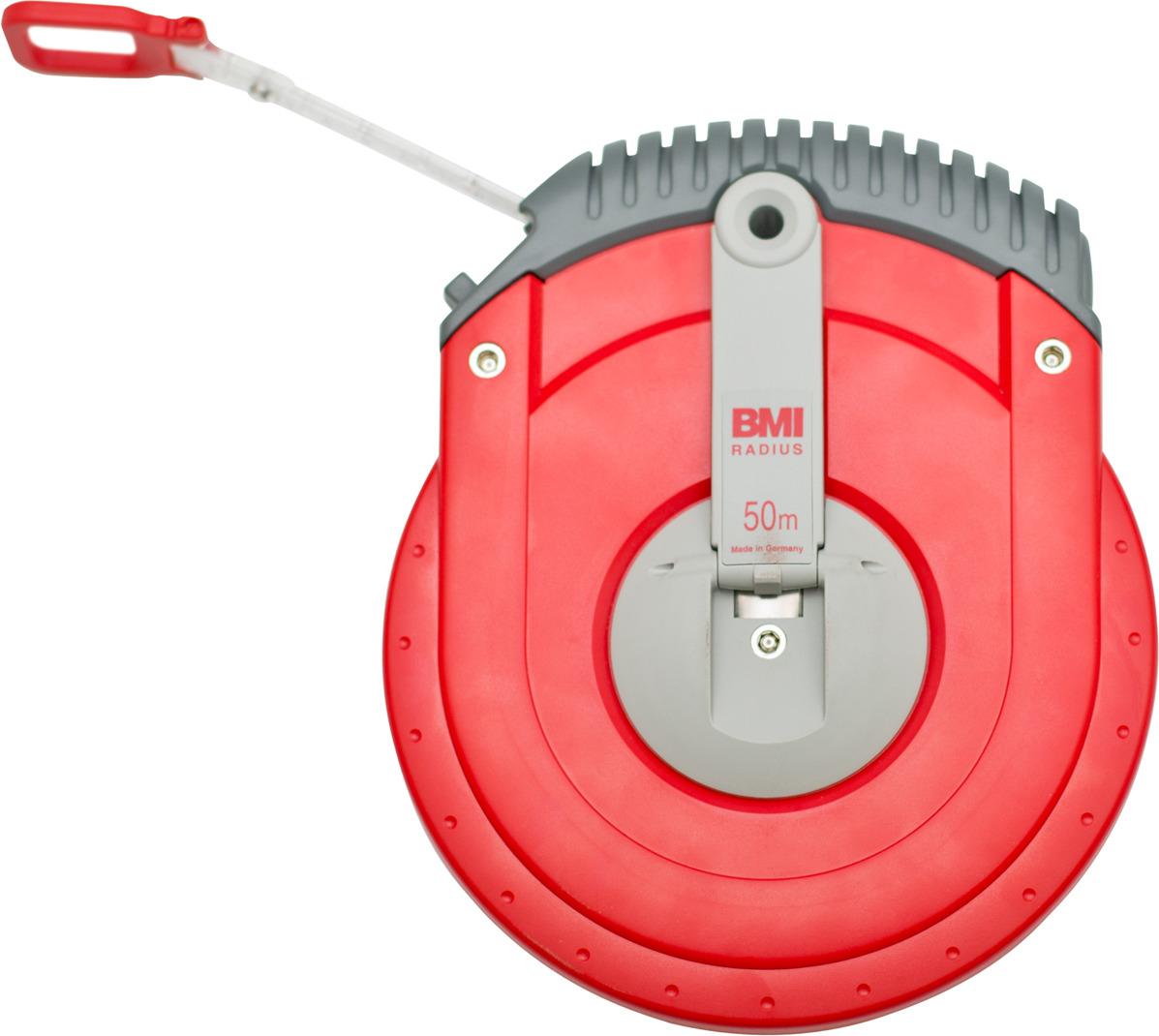 Измерительная рулетка BMI Radius, 501234050BF, 50 м501234050BFТип ленты: Стальная крашенная лента, длина: 50м, тип корпуса: закрытый