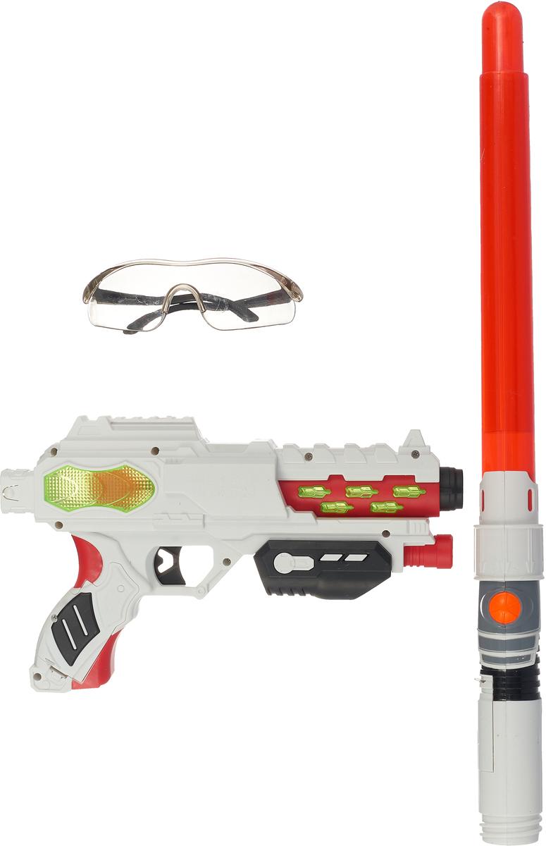 Игровой набор Fun Red, FRBL009, со звуковыми и световыми эффектами, белый, красный игровой набор fun red бластер наручники со звуковыми и световыми эффектами