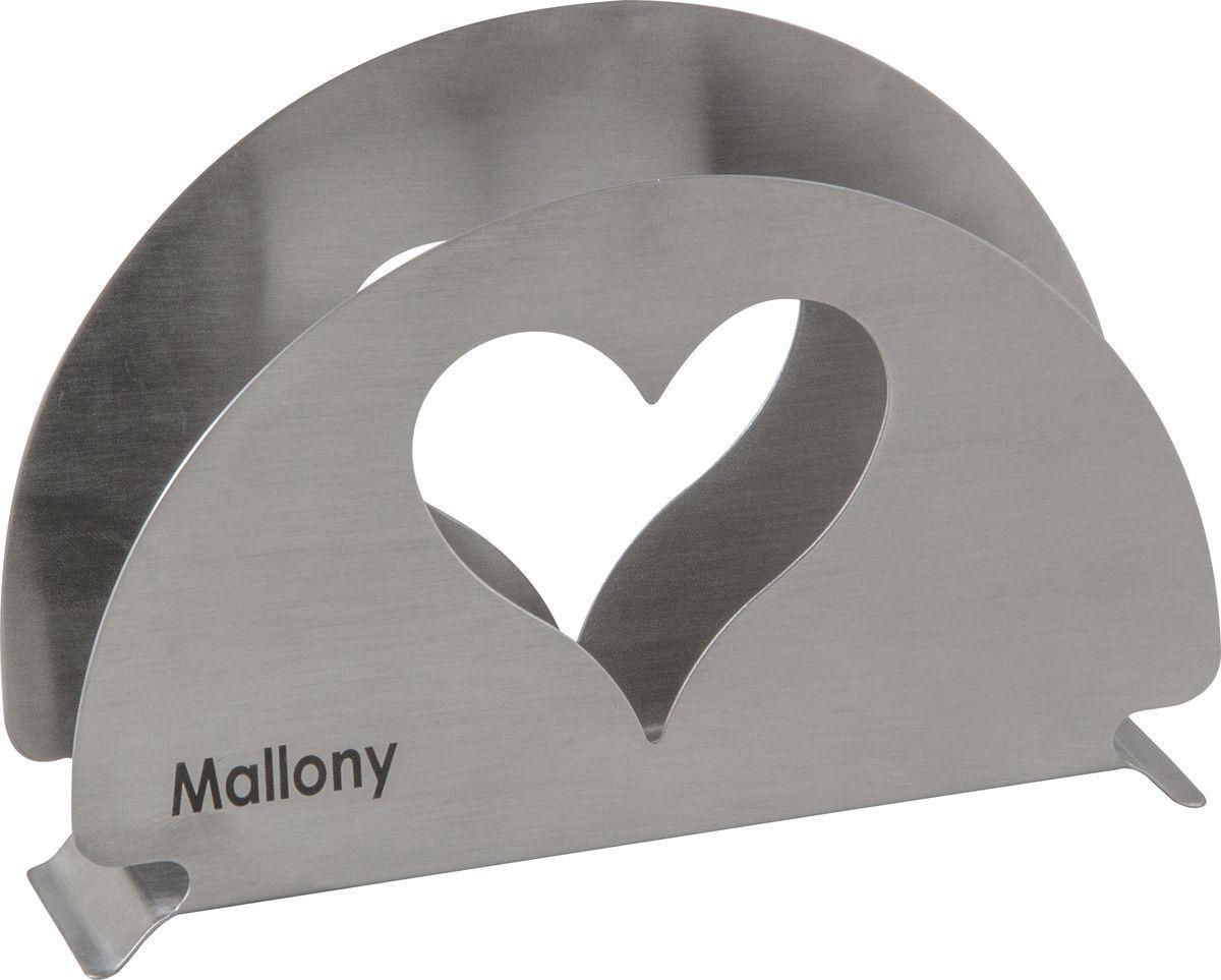 Держатель для салфеток Mallony Cuore, 003060, серебристый003060Держатель для салфеток из нержавеющей стали Материал - нерж сталь 18/8 Толщина - 0,6 мм Упаковка - стикер