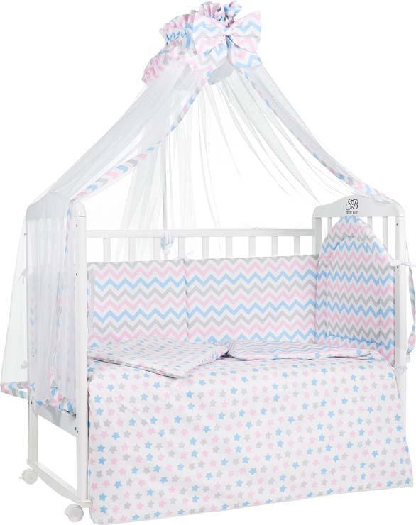 Комплект в кроватку Sweet Baby Stelle, 410684, розовый, 7 предметов комплекты в кроватку makkaroni kids sweet baby 125x65 6 предметов
