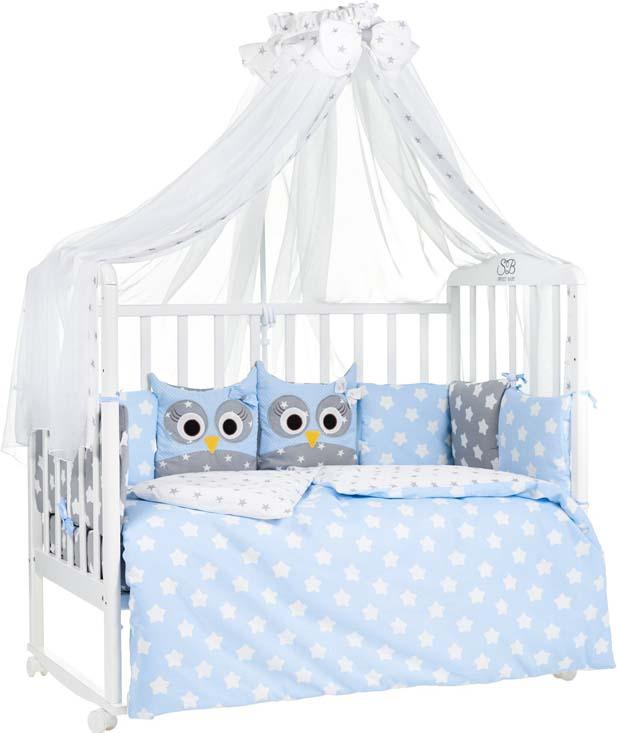 Комплект в кроватку Sweet Baby Uccellino, 410663, голубой, 7 предметов