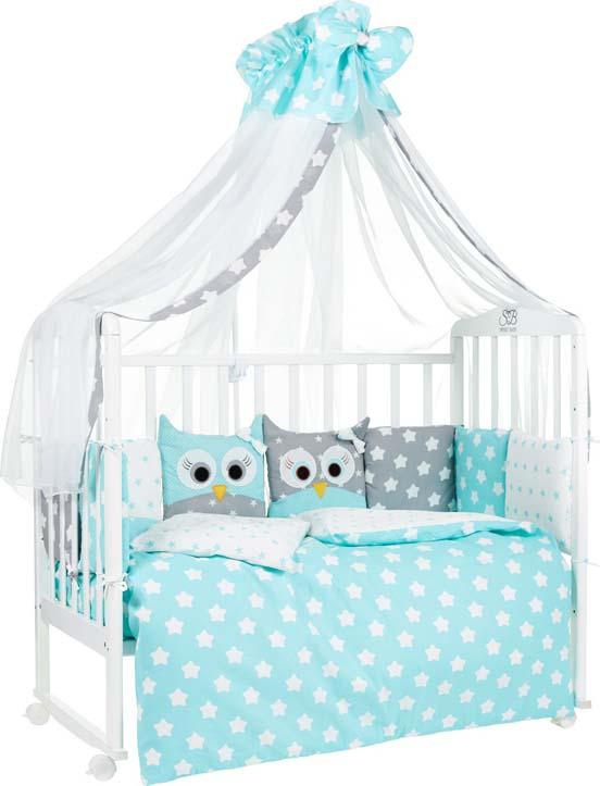 Комплект в кроватку Sweet Baby Uccellino, 410664, мятный, 7 предметов