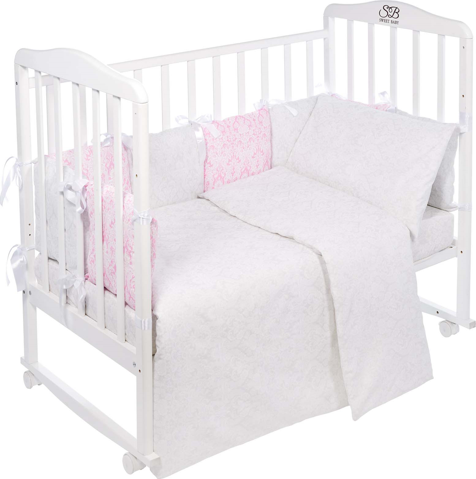 Комплект в кроватку Sweet Baby Agio, 419061, розовый, белый, 4 предмета