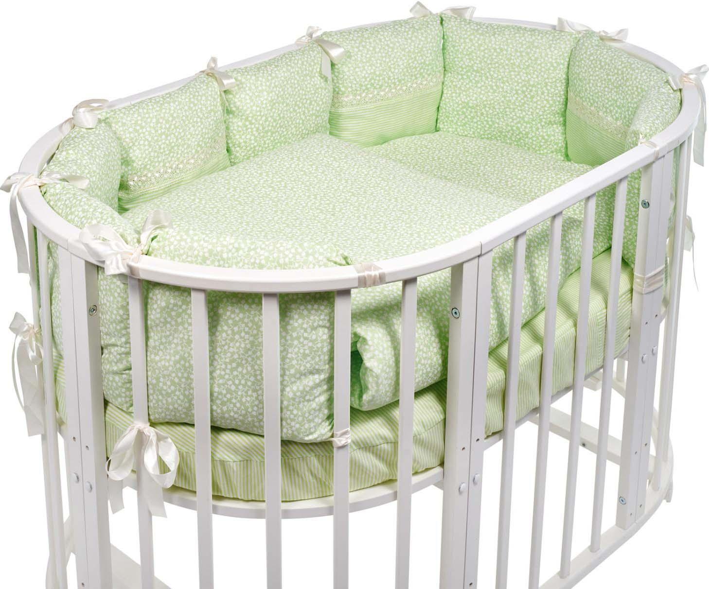 Комплект в овальную кроватку Sweet Baby Aria, 419060, светло-зеленый, 5 предметов