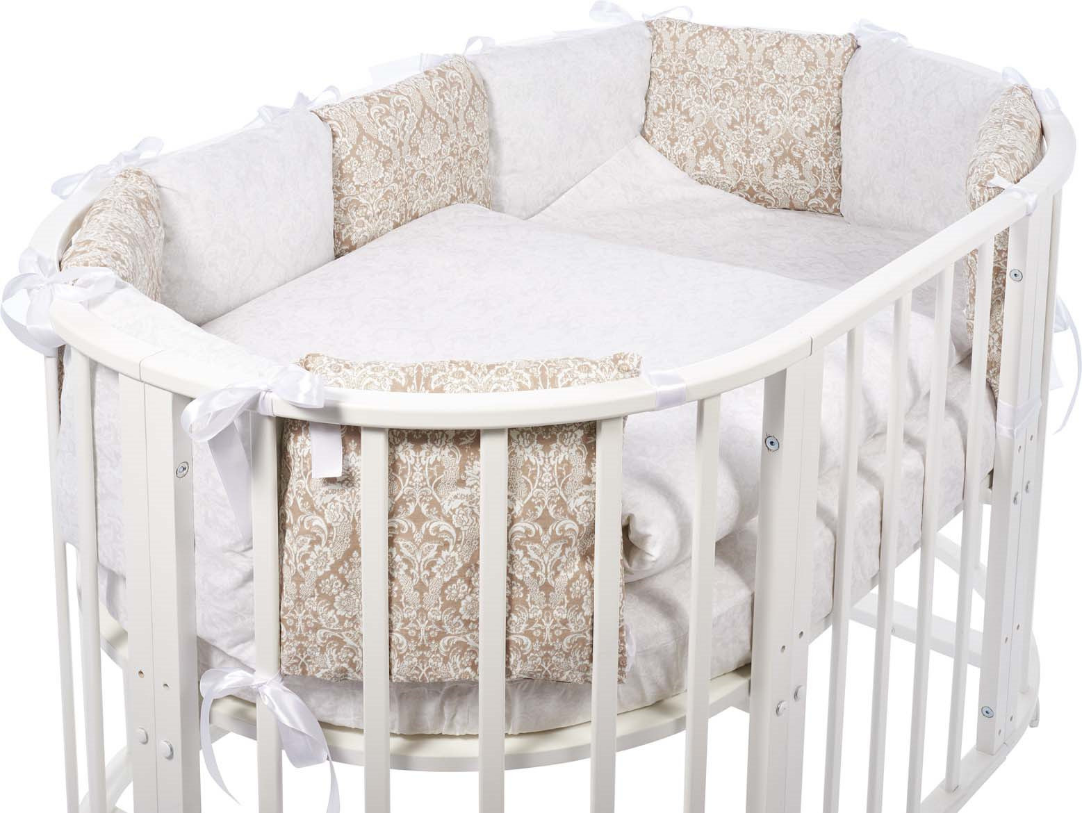 Комплект в овальную кроватку Sweet Baby Aria, 419058, темно-бежевый, белый, 5 предметов комплекты в кроватку makkaroni kids sweet baby 125x65 6 предметов