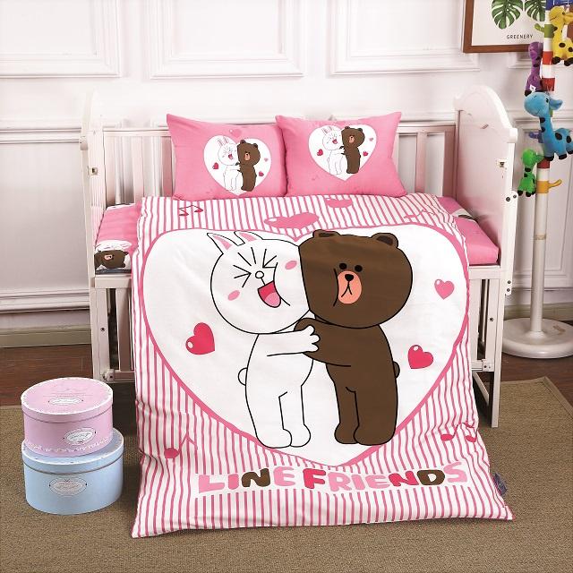 Комплект в кроватку DO&CO КПБ Сатин 100X150 LOVE, 10035, розовый