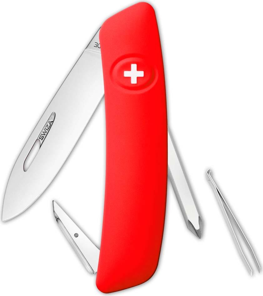 Перочинный швейцарский нож SWIZA D02 Standard, KNI.0020.1001, красный, 95 мм, 6 функций