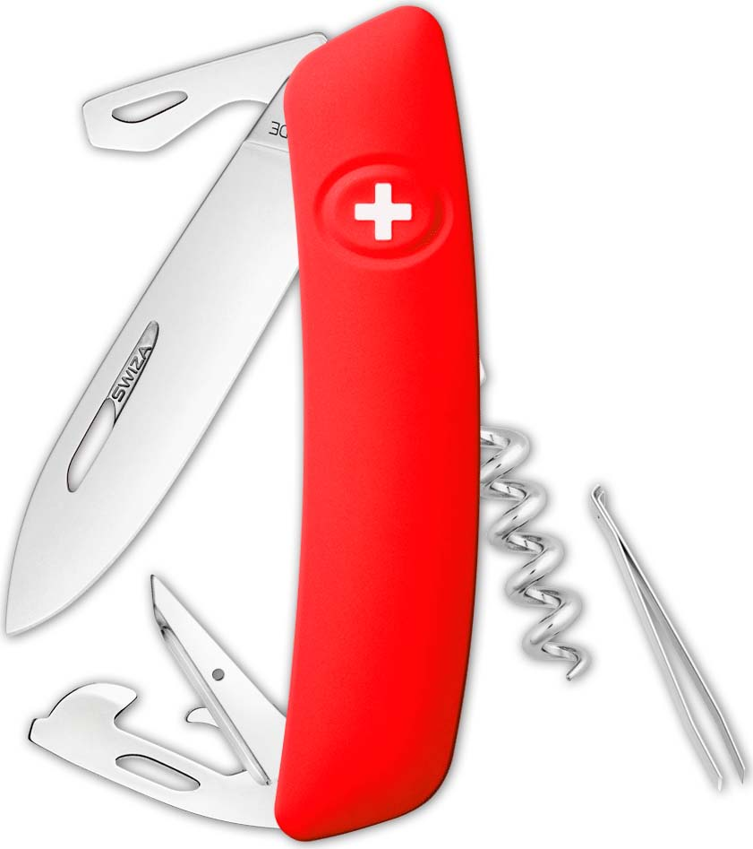 Перочинный швейцарский нож SWIZA D03 Standard, KNI.0030.1001, красный, 95 мм, 11 функций