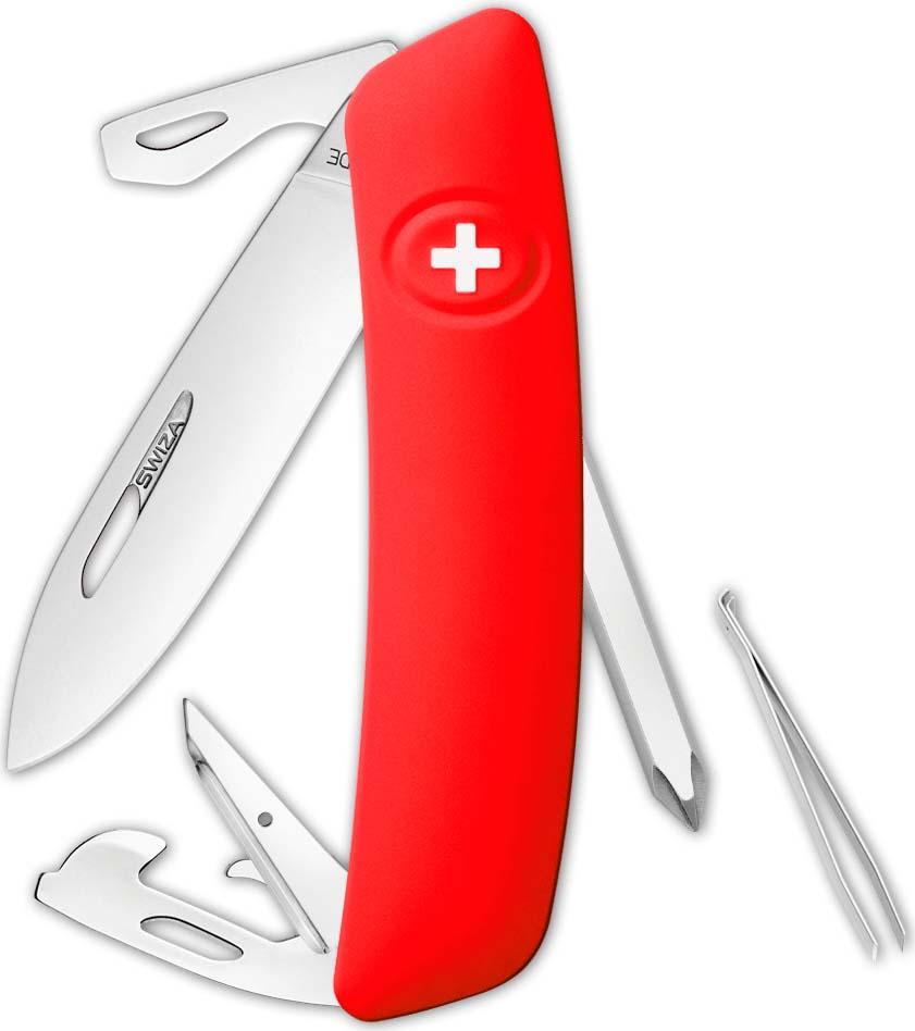 Перочинный швейцарский нож SWIZA D04 Standard, KNI.0040.1001, красный, 95 мм, 11 функций все цены