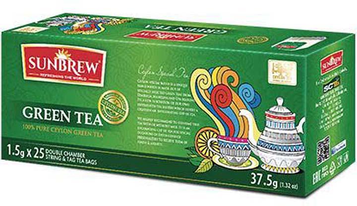 Чай зеленый Sunbrew, в пакетиках, 25 шт по 1.5 г