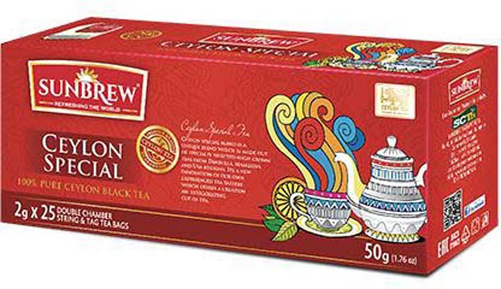 Чай черный Sunbrew Ceylon Special, в пакетиках, 25 шт по 2 г