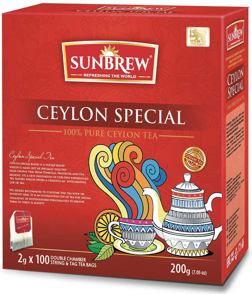 Чай черный Sunbrew Ceylon Special, в пакетиках, 100 шт по 2 г