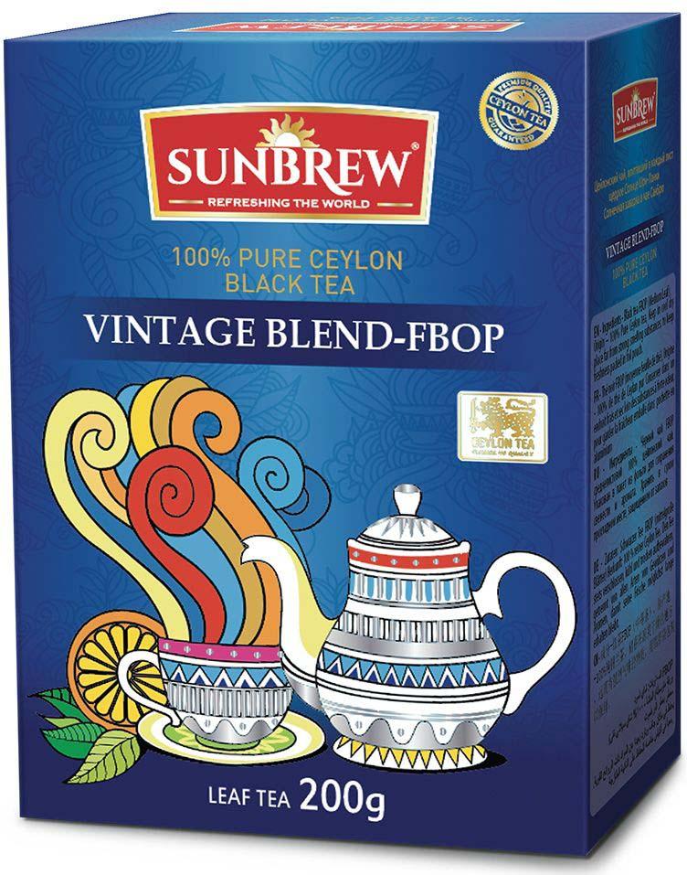 Чай черный Sunbrew Vintage FBOP, 200 г чай susan среднелистовой черный pekoe 100г