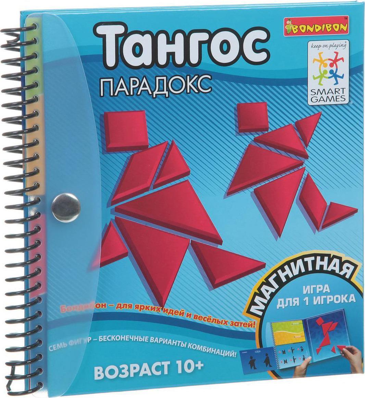 Bondibon Настольная игра Тангос ПарадоксВВ1351Настольная игра Bondibon Тангос Парадокс - это компактные головоломки, которые имеют многовековую историю и предназначены для изучения детьми геометрических фигур и развития пространственного, а также логического мышления.Компоненты головоломки Тангос не меняются веками - это пять треугольников, квадрат и параллелограмм. Игра предназначена для путешествий, ведь она занимает совсем немного места, а все детали головоломки имеют магнитную основу и крепко держатся на игровом поле. Каждое задание состоит из воссоздания двух изображений: сначала игроку нужно собрать первое изображение, используя детали головоломки, а потом, используя те же самые детали, воссоздать второе изображение! Сможете ли вы решить все эти парадоксы? Играйте тогда, когда захочется! Игра рассчитана на одного игрока. Рекомендуем!