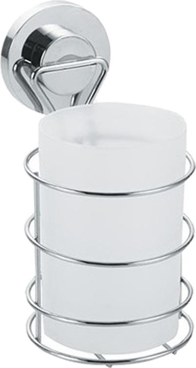 Стакан для ванной комнаты Fora Atlant A044, серебристый полка для ванной комнаты fora triumf на присоске t033 серебристый
