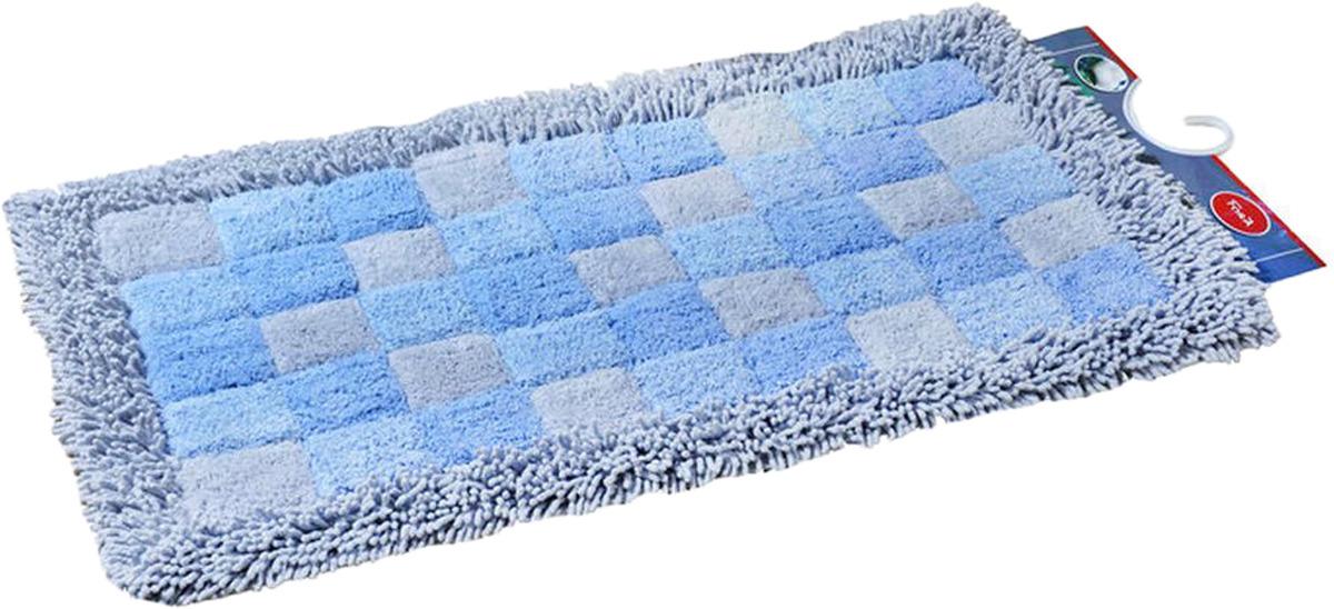 "Коврик для ванной Fora ""Шахматы"", 1845-1 100BL, голубой, 60 х 100 см"