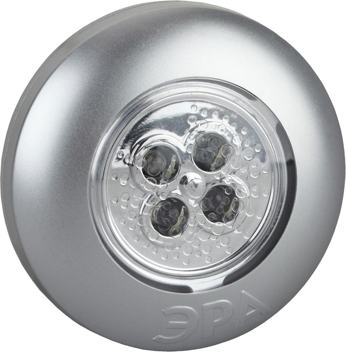 Фонарь декоративный ЭРА Аврора SB-503, серебристый, самоклеящийся, 4 x LED фонарь кемпинговый эра 6 x led 4 режима