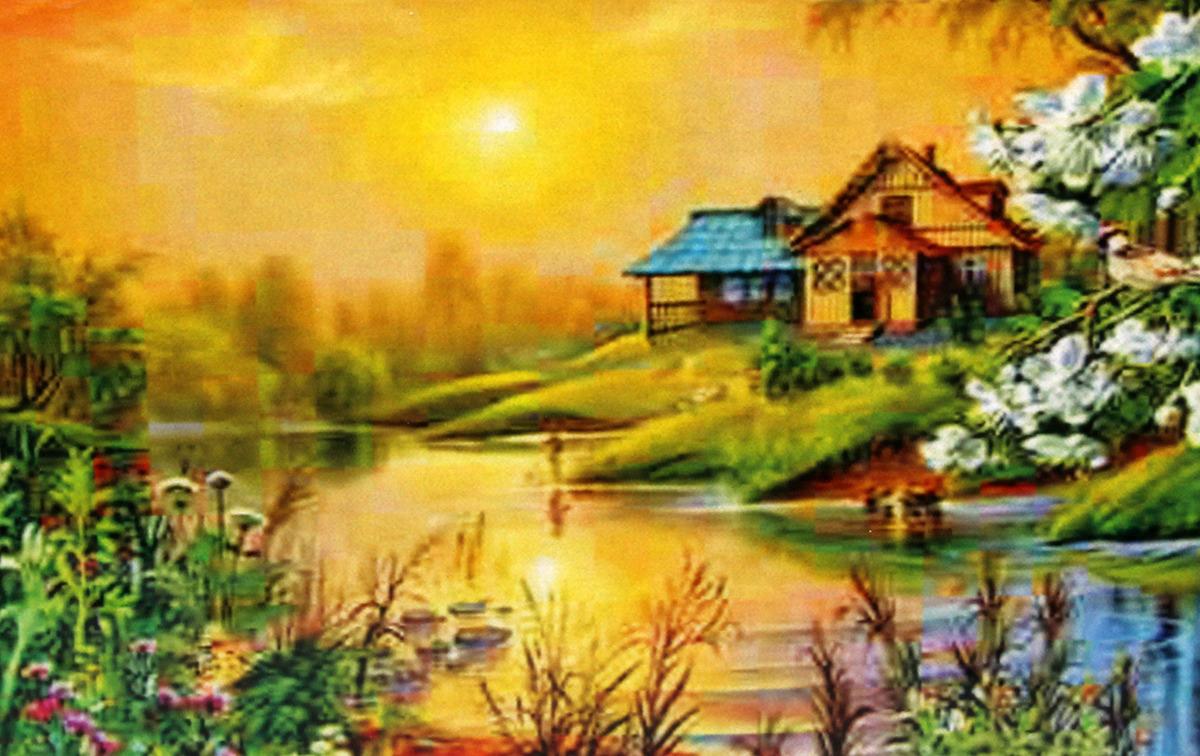 Фото - Картина по номерам Рыжий кот Уютный домик у пруда, G590, 30 х 40 см домик у пруда
