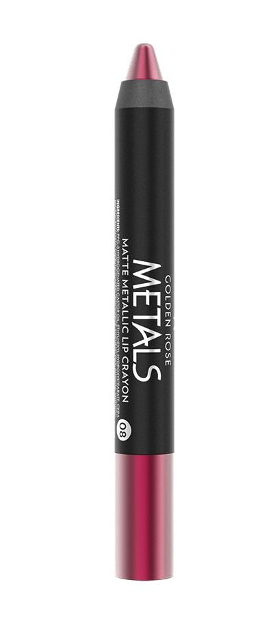 Губная помада Golden Rose Crayon матовая металлическая, тон 08GRMC08/08Матовая металлическая губная помада Crayon - это губная помада, которая ликвидирует разрыв между металлическим и матовым. Он имеет уникальную формулу, которая придает вашим губам блеск и матовость. Его долговечная формула содержит высокоспециализированные металлические жемчужины и светоотражающие пигменты для интенсивного цветного и матового металлического эффекта на губах. 10 тонов вашего осеннего очарования. Crayon входит в новую серию METALS с эффектом металлик от компания Golden Rose. В серию входят помады Crayon, жидкие тени, жидкие хайлайтеры, набор хайлайтеров с румянами и лаки. Дополните ваш мейкап металлическим блеском.