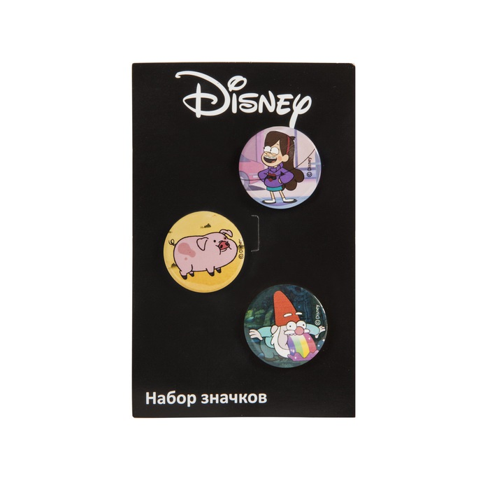 Набор значков Disney Набор значков Гравити Фолз 1 (Мэйбл, Поросенок Уодлс, Гном) набор стикеров disney гравити фолз 3