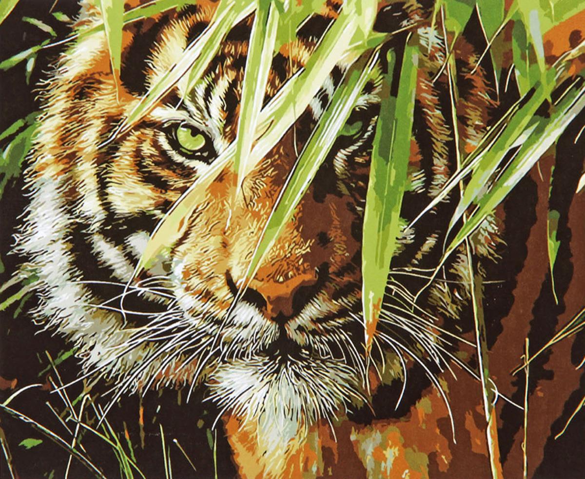 Картина по номерам Школа талантов Тигр в траве, 1387413, 30 х 40 см картина по номерам школа талантов зимний дом 1675811 30 х 40 см