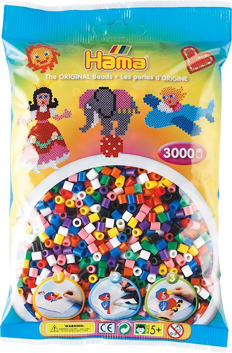 Бусинки для мозаики Hama натуральные цвета, 201-00, 3000 шт набор hama mini бусинки для мозаики 2000 шт основа шестиугольник 5507