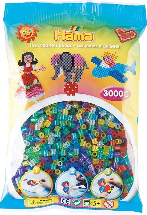 Бусинки для мозаики Hama прозрачные с блестками, 201-54, 3000 шт