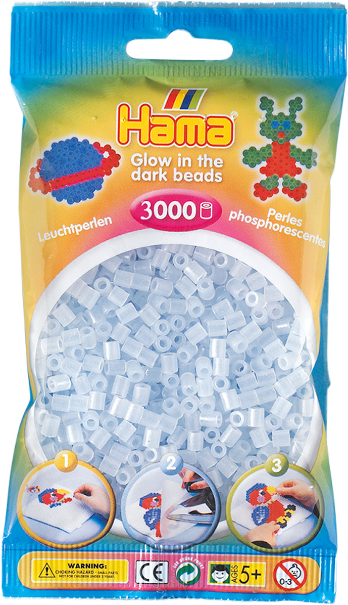Бусинки для мозаики Hama светящиеся в темноте, 201-57, 3000 шт набор hama mini бусинки для мозаики 2000 шт основа шестиугольник 5507