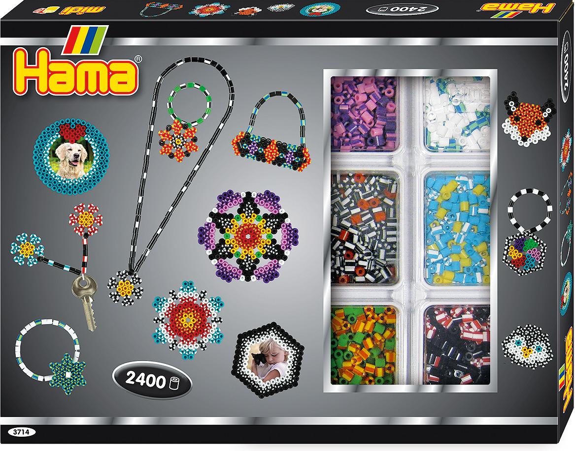 Набор Hama бусинки для мозаики, 2400 шт + 2 основы, 3714 набор hama mini бусинки для мозаики 2000 шт основа шестиугольник 5507