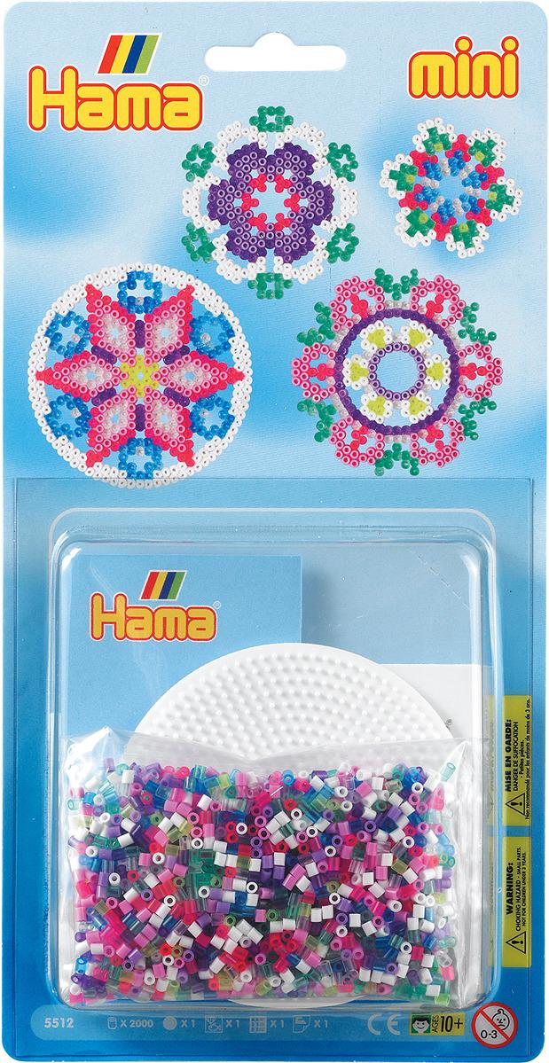 Набор Hama Mini бусинки для мозаики, 2000 шт + основа круг, 5512 набор hama mini бусинки для мозаики 2000 шт основа шестиугольник 5507