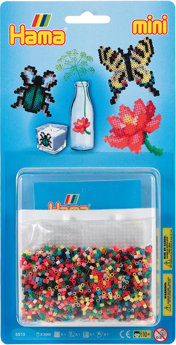 Набор Hama Mini бусинки для мозаики, 2000 шт + основа квадрат, 5513 набор hama mini бусинки для мозаики 2000 шт основа шестиугольник 5507