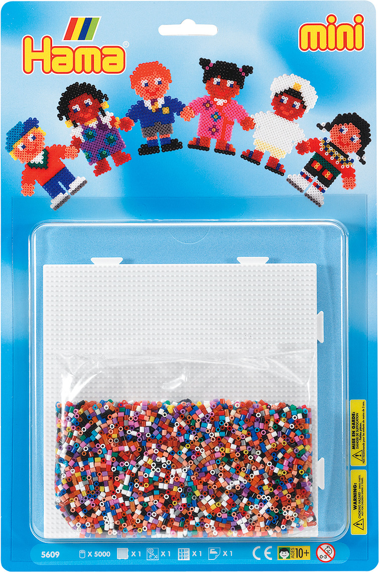 Набор Hama Mini бусинки для мозаики, 5000 шт + основа квадрат, 5609 набор hama mini бусинки для мозаики 2000 шт основа шестиугольник 5507