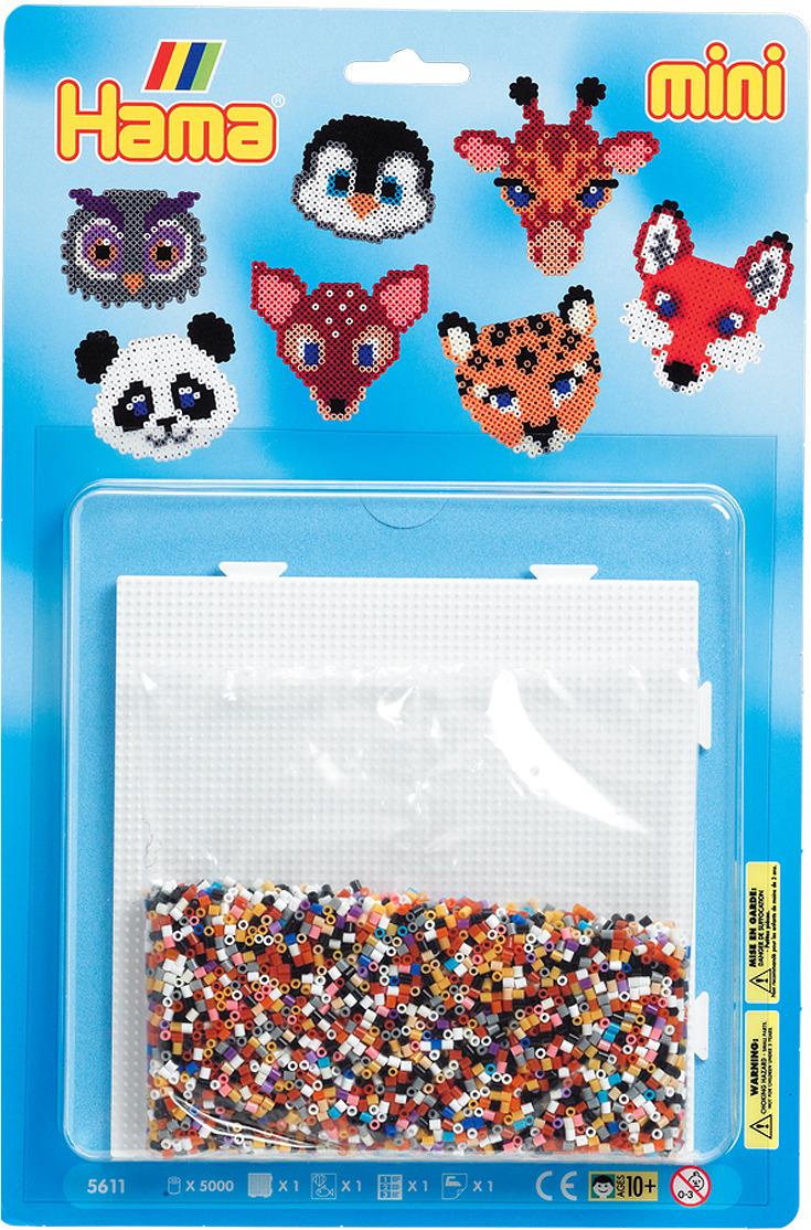 Набор Hama Mini бусинки для мозаики, 5000 шт + основа квадрат, 5611 набор hama mini бусинки для мозаики 2000 шт основа шестиугольник 5507