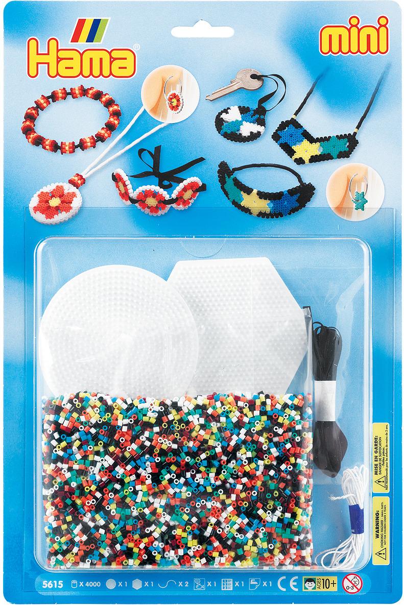 Набор Hama Mini бусинки для мозаики, 4000 шт + 2 основы, 5615 набор hama mini бусинки для мозаики 2000 шт основа шестиугольник 5507