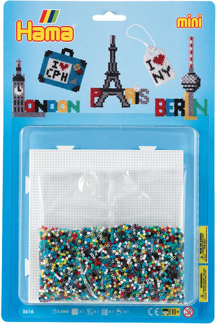 Набор Hama Mini бусинки для мозаики, 5000 шт + основа квадрат, 5616 набор hama mini бусинки для мозаики 2000 шт основа шестиугольник 5507