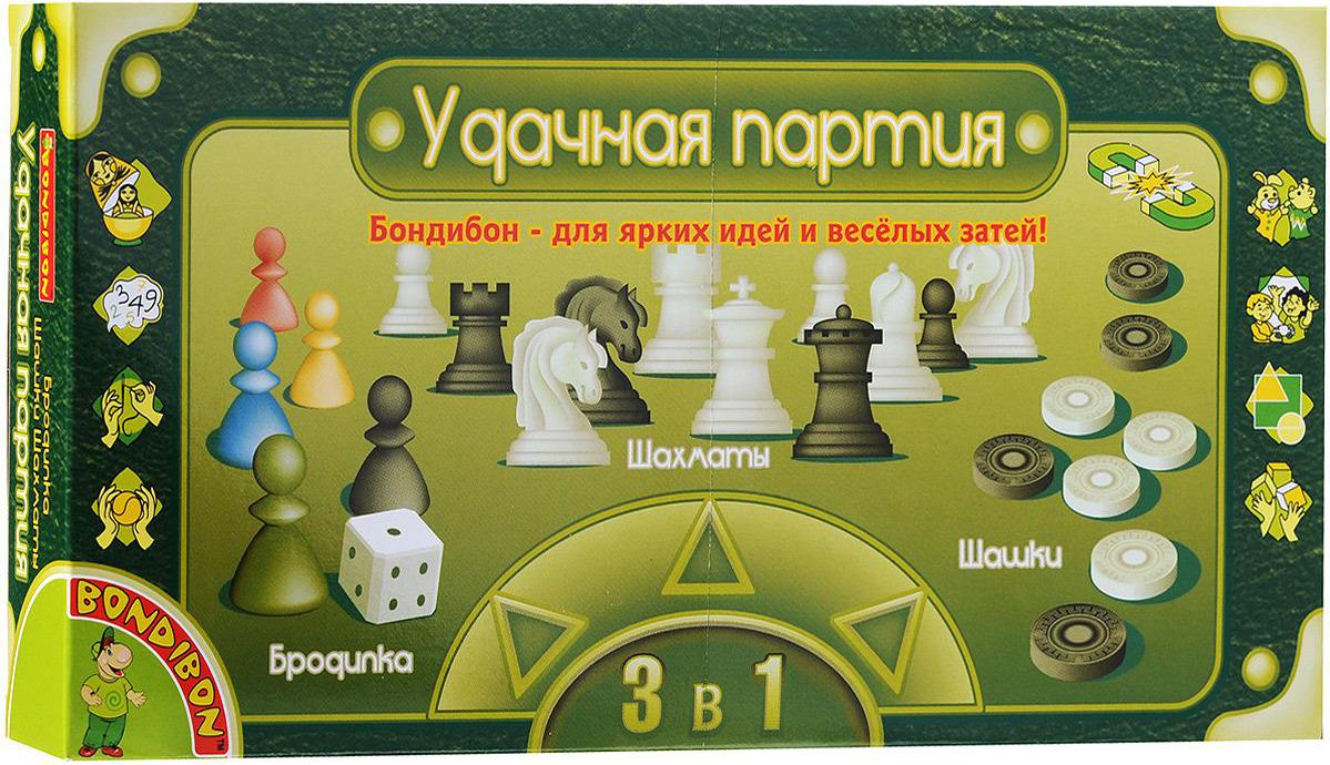Набор настольных игр Bondibon Удачная партия, 3в1: шашки, шахматы, бродилкаВВ0692Вы не знаете, чем себя занять в дороге в поезде, что взять с собой на пляж, чтобы не скучать, или как скоротать вечер–другой в непогоду на даче? Отличный вариант – набор Bondibon Удачная партия, в котором есть сразу три популярные настольные игры всех времен и народов: шахматы, шашки и игра–бродилка. Все необходимое для игр хранится в пластиковом кейсе, состоящем из двух частей. Внутренняя часть представляет собой поле для игры в шахматы или шашки, внешняя - поле для игры в бродилку. В набор также входят игральный кубик, 5 фишек черного, красного, синего, желтого и зеленого цветов, 24 шашки черного и красного цветов и 32 шахматные фигуры черного и белого цветов. Для удобства шашки, шахматы и фишки сделаны на магнитиках, что позволит вам не потерять их на свежем воздухе или в дороге. Эти три увлекательные игры помогут вам развить логическое мышление и позволят интересно и с пользой провести время. Рекомендуем!