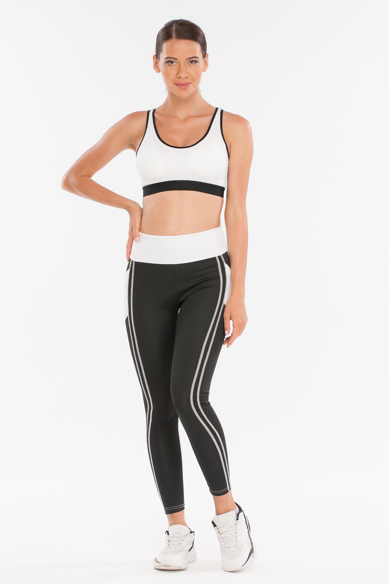 Леггинсы женские Morera, цвет: Черный/Белый. Размер 4893061 BLACK/WHITE (XL)Леггинсы для фитнеса, спорта и бега.