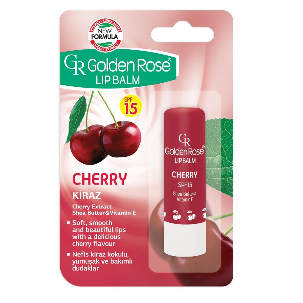 Бальзам для губ Golden Rose Вишня солнцезащитный SPF 15, 30 гSPF15-CH/01Соблазнительный аромат спелой вишни с глянцевым блеском глубокого красного цвета на ваших губах. Активные ингредиенты вишни, масло ши и витамин Е деликатно увлажняют сухие, потрескавшиеся губы и обеспечивают им мягкость, ухоженность и привлекательность. Бережно ухаживает, смягчает и защищает нежную кожу губ от старения и негативного воздействия холодной зимней стужи и иссушающей летней жары. Подарит восхитительный аромат вишни и нарядный блеск глубокого красного цвета губам. Обладает высоким фактором защиты от UVA/UVB лучей SPF 15.
